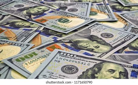 Money closeup of american hundred dollar bills . Business concept