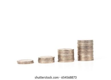 money coin stack on white background