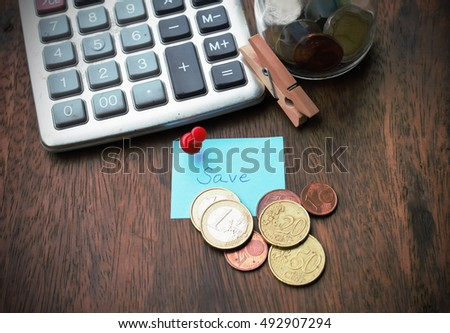 Money Coins Euros Calculator Some Stationery Stock Photo