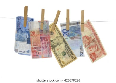 Money Concept: 50000 Rupiah (Indonesia), 20 Franc (Swiss), 10 Dollar, 20 Euro and 1000 Colones (Costa Rica) - Isolated on white - Adobe RGB