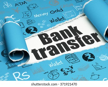 Money concept: black text Bank Transfer under the piece of  torn paper