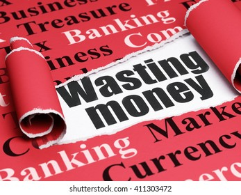 Money concept: black text Wasting Money under the curled piece of Red torn paper with  Tag Cloud, 3D rendering
