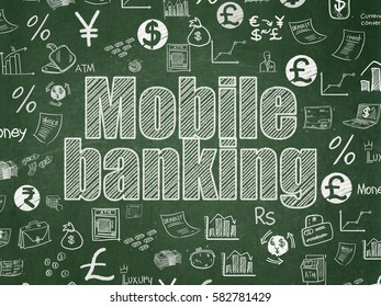 Money concept: Chalk White text Mobile Banking on School board background with  Hand Drawn Finance Icons, School Board