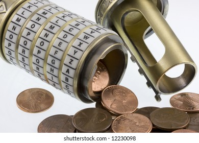 money concept - coins (pennies)  spilling out from open combination puzzle box with rings of letters (cryptex), see a set password