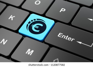 Money concept: computer keyboard with Euro Coin icon on enter button background, 3D rendering