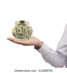 money concept with dollars and hand isolated on white background