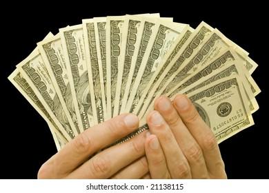 money concept. dollars in hands