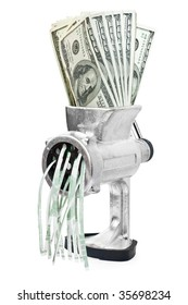 Money concept. Dollars are milled in a meat grinder