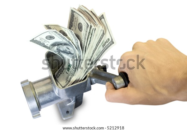 Money concept. Hand and dollars are milled in a meat grinder