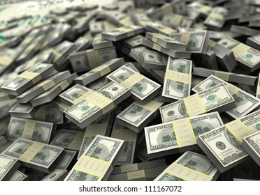 Money concept, a lot of hundred dollars. 3d image