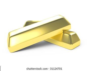 money concept of isolated gold  ingots on white background