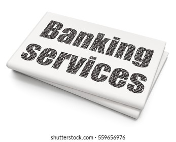 Money concept: Pixelated black text Banking Services on Blank Newspaper background, 3D rendering
