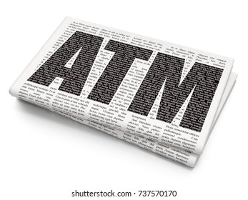 Money concept: Pixelated black text ATM on Newspaper background, 3D rendering