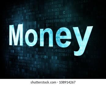 Money concept: pixelated words Money on digital screen, 3d render