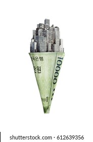 Money cone South Korean won / 3D illustration of city ice cream cone with South Korean ten thousand won note