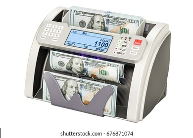 Money counting machine with dollars, 3D rendering