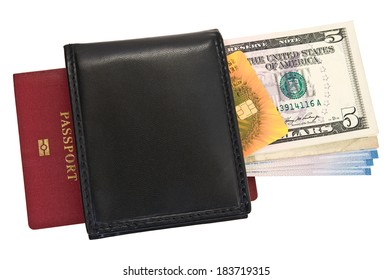 Money and credit card inside the purse and passport on white background.