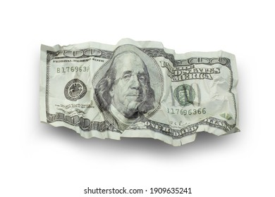 Money crushed one hundred dollar bills isolated on white background with clipping path