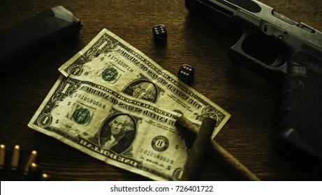 Money Cuban Cigar Smoking Bullets Gun Crime Gambling Still-life Concept