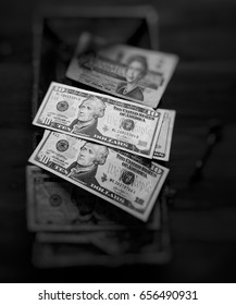 Money currency, blur key in black and white