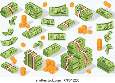 Money currency illustration. Various money bills dollar cash paper bank notes and gold coins. Collection of cash heap pile and currency stack set.
