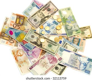 Money: denominations of the different countries on a white background