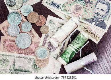 Money of different countries and different denominations, ancient money. Background.