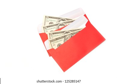 Money Dollar Cash Banknote in Red Envelope isolated on White Background