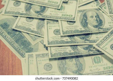 Money dollars american. One hundred dollars banknotes currency is popular all over the world with concept business.