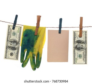 Money, dollars and euros and glove laundering on string with clothespins with clipping path