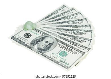 Money dollars and jade turtle