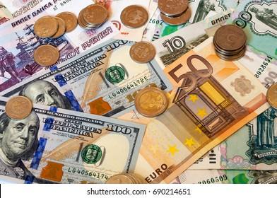 Money. Dollars, rubles, euro.