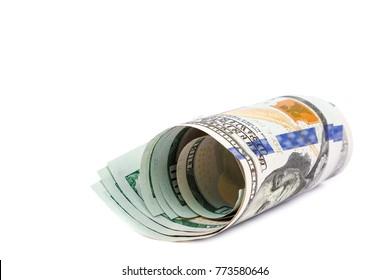 Money dollars usa isolated on a white background.