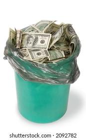 Money in dustbin