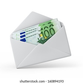 money in an envelope, Euro version. 3d illustration with work path