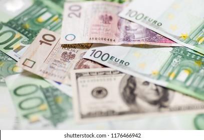 Money. Euro banknotes close up. Several hundred euro banknotes.