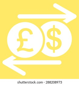 Money Exchange icon from Business Bicolor Set. This flat raster symbol uses white color, rounded angles, and isolated on a yellow background.