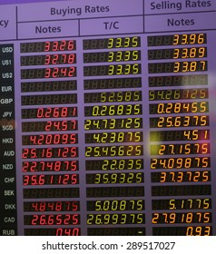 money exchange rate board background, currency exchange rate on digital LED display board in global background