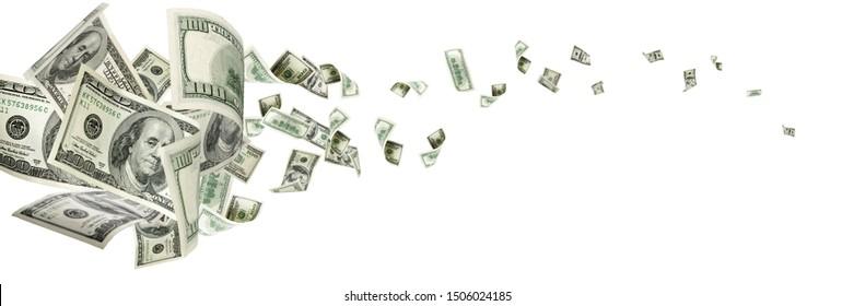 Money falling. American money. Washington american cash, usd background.