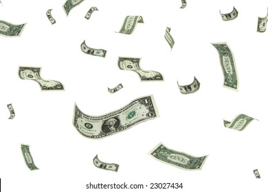 money falling from the sky over a white background.