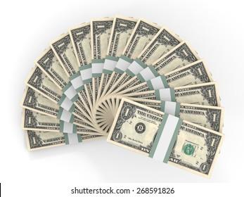 Money fan. One dollar. 3D illustration.