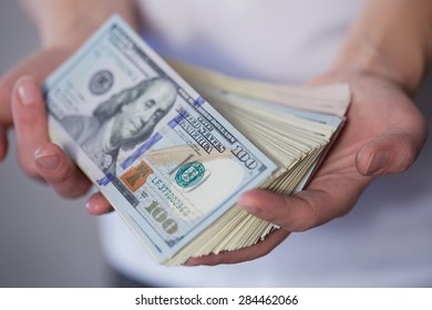 Money in female hands