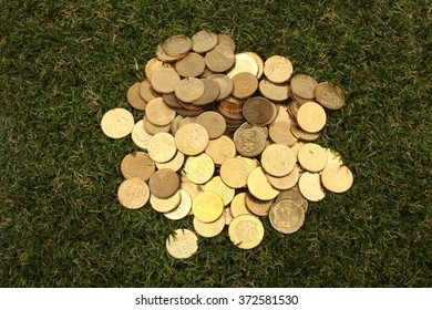 Money and Finance Topic: cash coins lie on the green grass top view