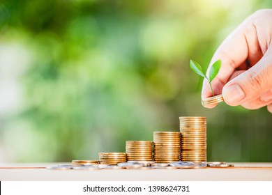 Money, Financial, Business Growth concept, Man's hand put money coins to stack of coins
