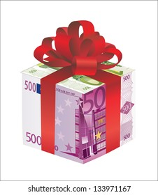money gift box of 500 end 100 euro isolated on a white background