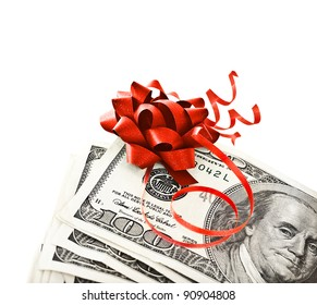 Money, gift wrapped in red bow and ribbon, one hundred dollars banknotes, US currency as cash isolated on white background, business  success concept