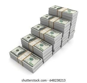 money graph 3d illustration on white background