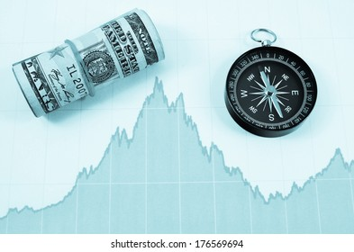 money , graph and compass  , business direction concept