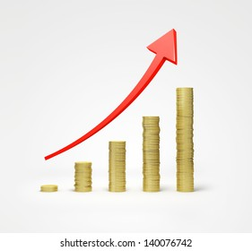 money graph  on a white background