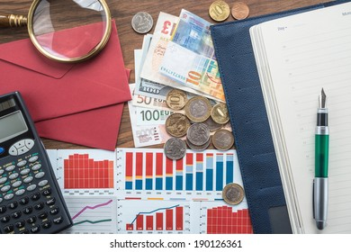 Money and graphs for finance concept